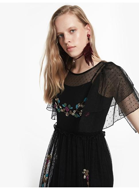 Twist Payet Çiçek Nakışlı Çift Parça Elbise Siyah
